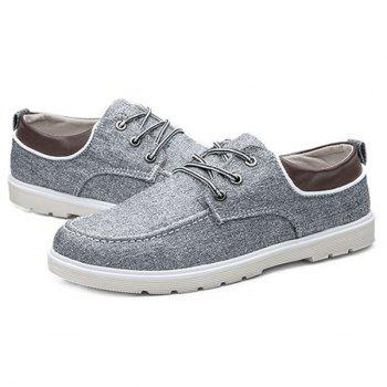 Tie Up Color Block Splicing Canvas Shoes - GRAY 40