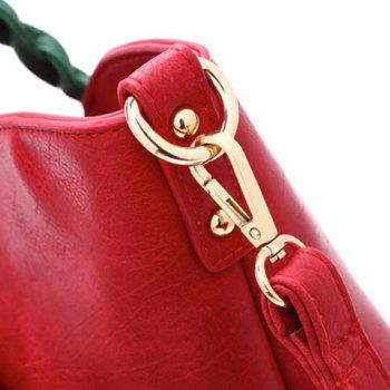Stitching Color Splicing Rose Shoulder Bag - RED