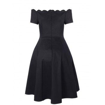 Vintage Boat Neck Ball Gown Dress - BLACK 2XL