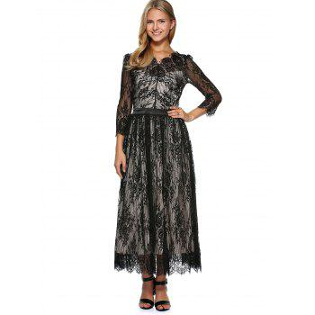 Scalloped Long Lace Evening Dress with Sleeves - BLACK S
