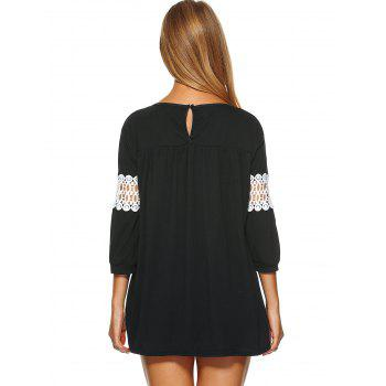 Lace Insert Loose-Fitting Mini Dress - BLACK M