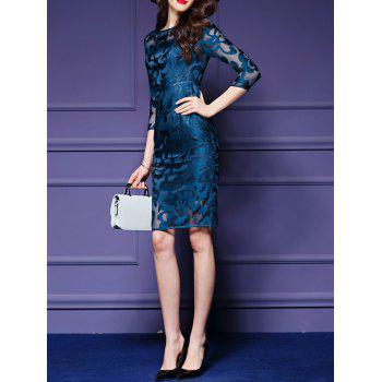 See-Through Embroidery Sheath Dress - PEACOCK BLUE S