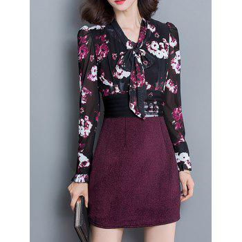 Floral Print Chiffon Bodycon Dress - COLORMIX XL