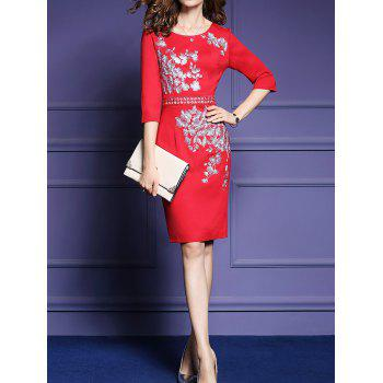 Embroidery 3/4 Sleeve Dress - RED M