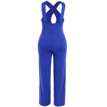 Criss Cross Hollow Out Wide Leg Jumpsuit - BLUE L