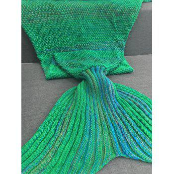 Chic Quality Super Soft Crochet Knitted Mermaid Tail Sofa Blanket - GREEN