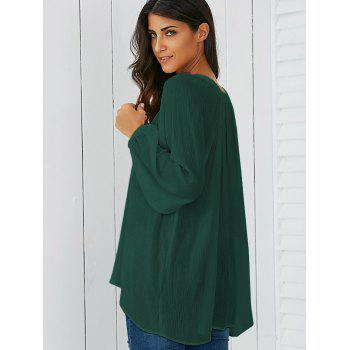 Lantern Sleeve Smock Blouse - BLACKISH GREEN XL