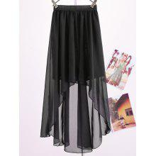 Women's Chiffon Pleated Retro Asymmetrical Swallow Tail Short Elastic Waist Skirt