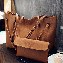 Magnetic Closure Textured Leather Shoulder Bag