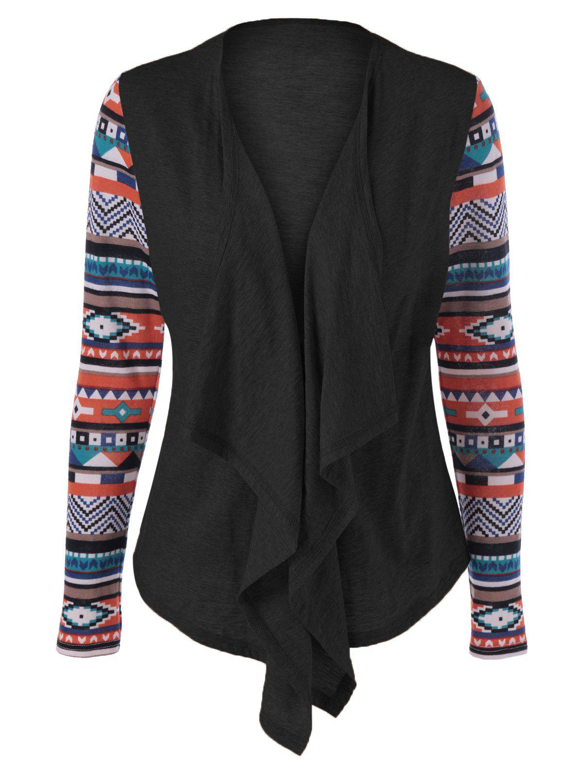 Geometric Pattern Irregular Front Fly Cardigan geometric pattern irregular front fly cardigan