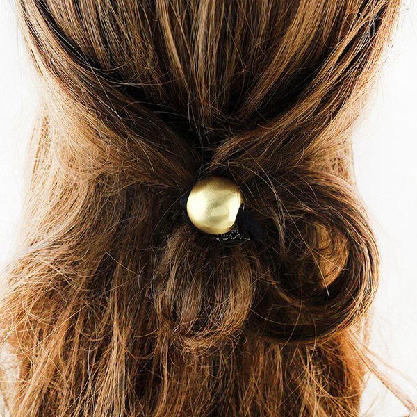 Round Bead Alloy Elastic Hair Band