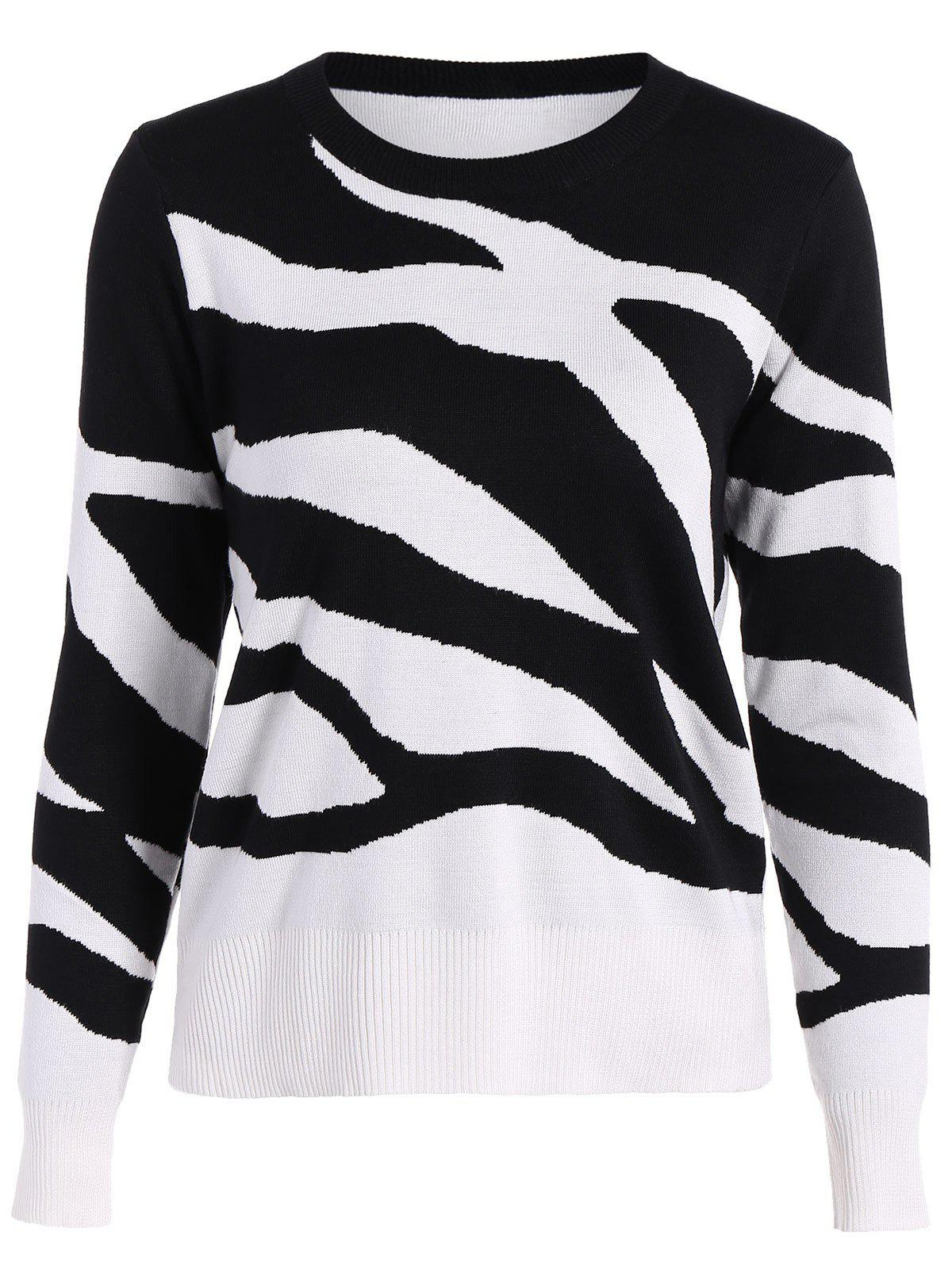 Two Toned Ribbed Hem Knitted Pullover - WHITE/BLACK M
