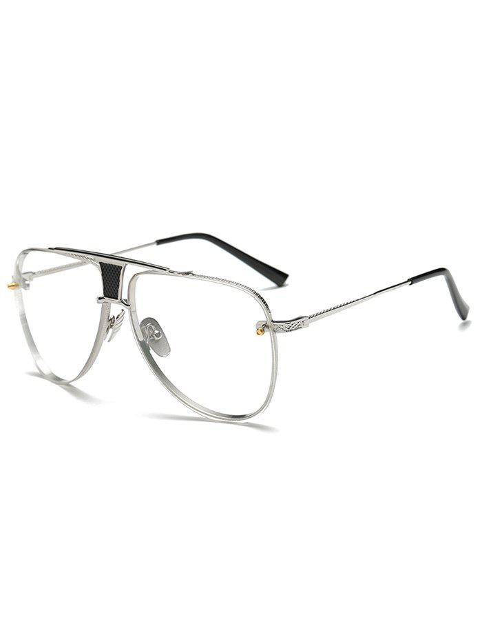 Streetwear Trapezoid Hollow Out Pilot Sunglasses - SILVER