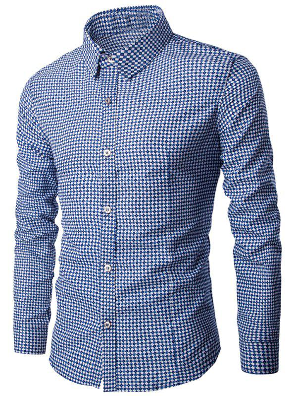 Button Up Turn-down col imprimé géométrique T-shirt - Bleu 2XL
