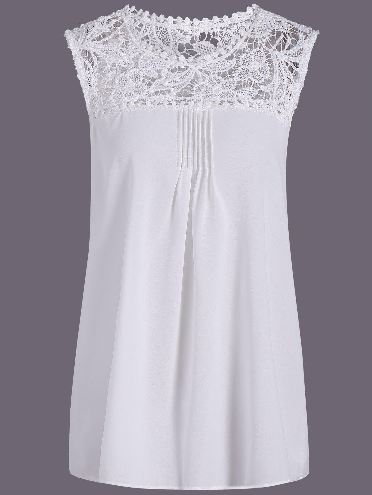 Openwork Lace Spliced Shirred Tank Top - WHITE S