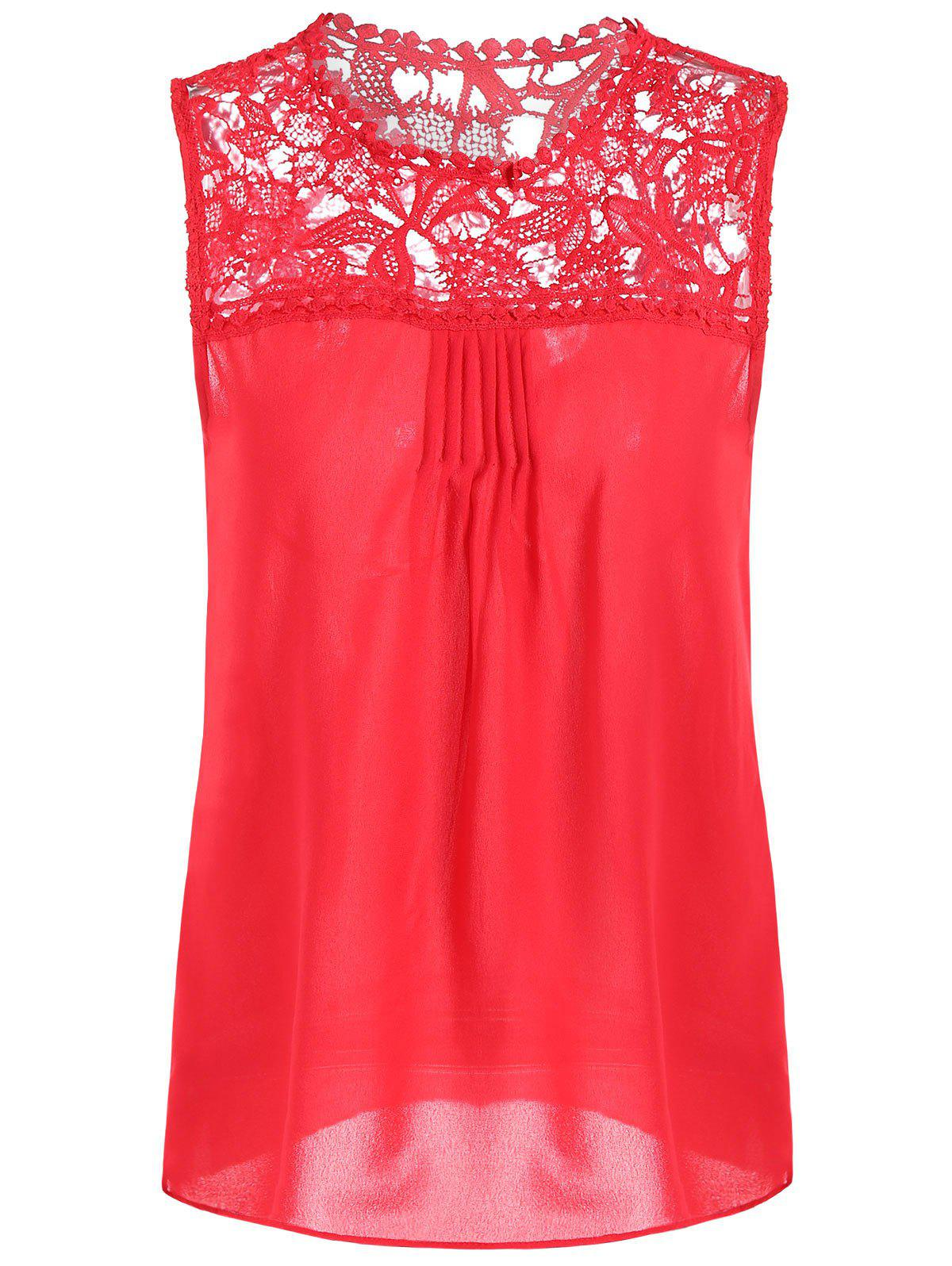 Openwork Lace Spliced Shirred Tank Top - RED M