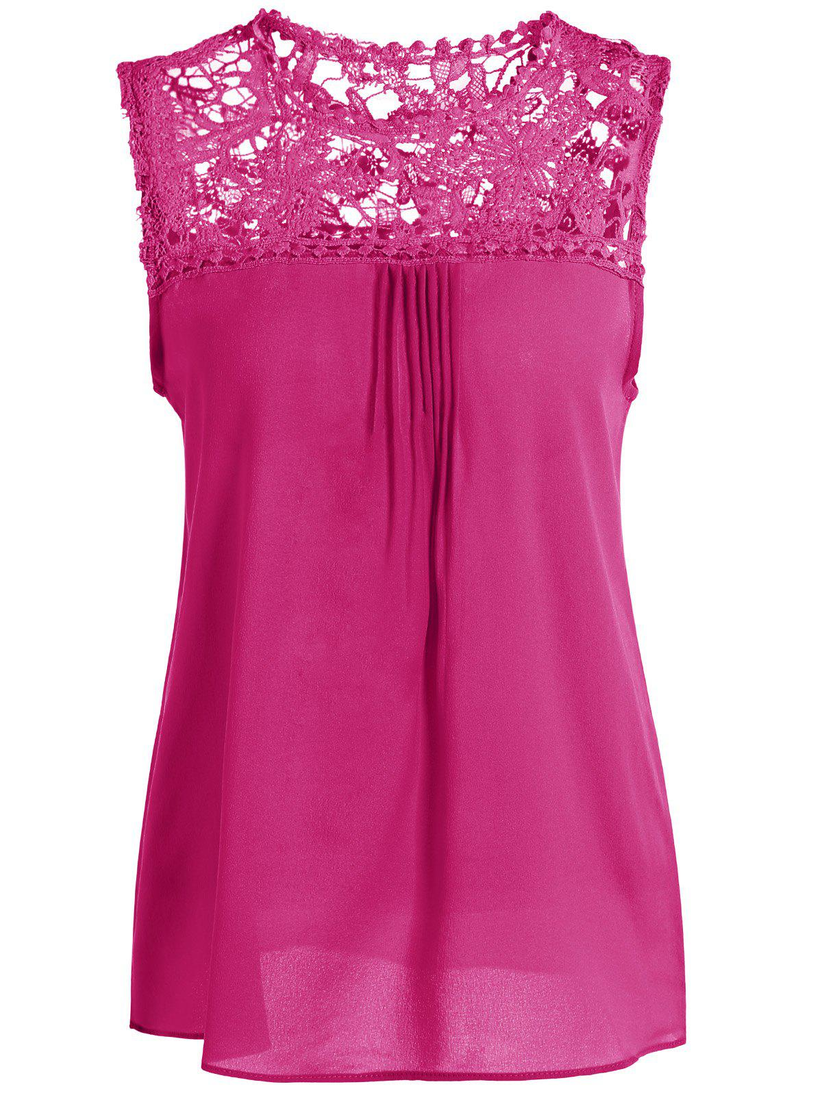 Openwork Lace Spliced Shirred Tank Top - ROSE RED 4XL