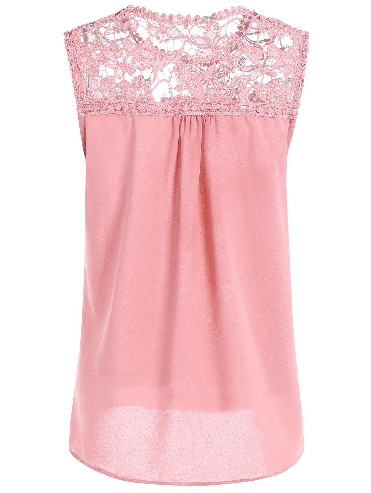 Openwork Lace Spliced Shirred Tank Top - PINK 4XL