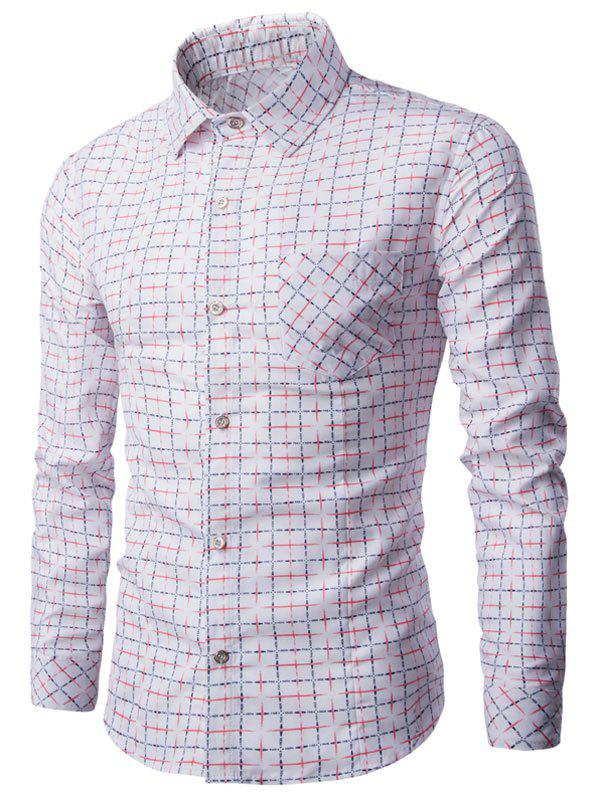 Grid Print Turn-down Collar Button Up Shirt - WHITE L