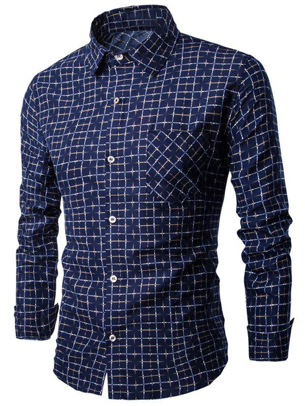 Grid Print Turn-down Collar Button Up Shirt - CADETBLUE M
