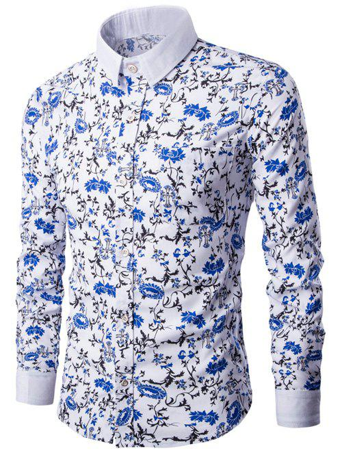 2018 floral print breast pocket button up shirt white xl for Floral print button up shirt