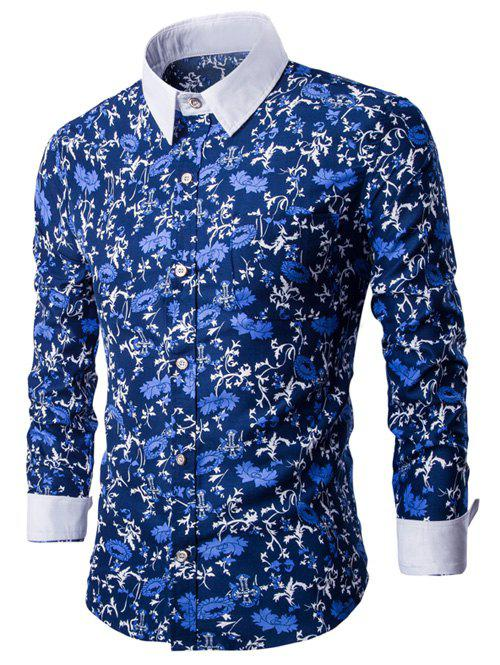 Floral Print Breast Pocket Button Up Shirt - BLUE 3XL