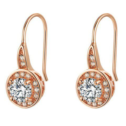 Round Shape Zircon Faux Crystal Hook Earrings faux crystal flower hook earrings