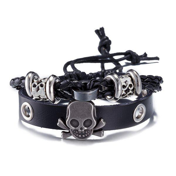 Faux Leather Woven Infinity Skull Bracelet
