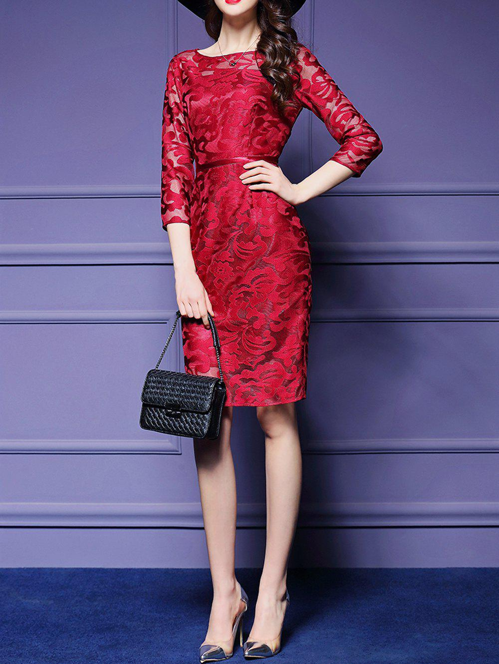See-Through Embroidery Sheath Dress - RED XL