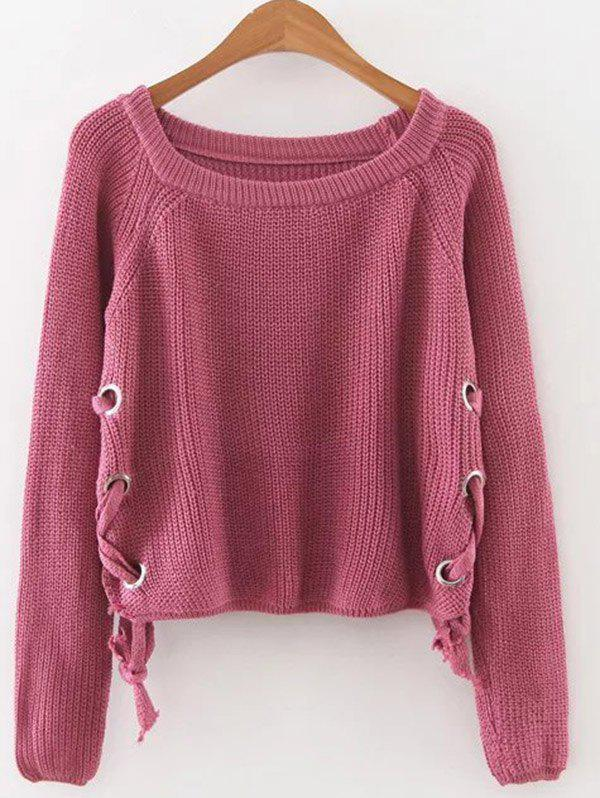 Lace Up Pullover Jumper - RED ONE SIZE