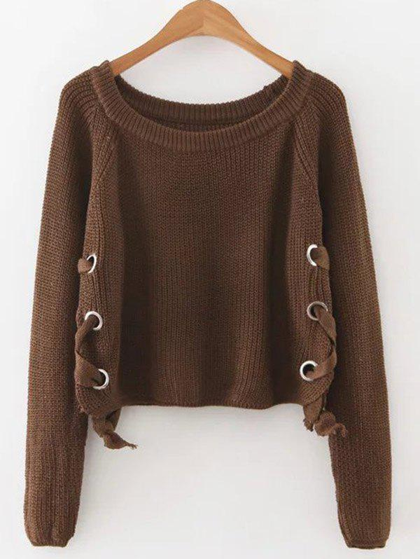 Lace Up Pullover Jumper - COFFEE ONE SIZE