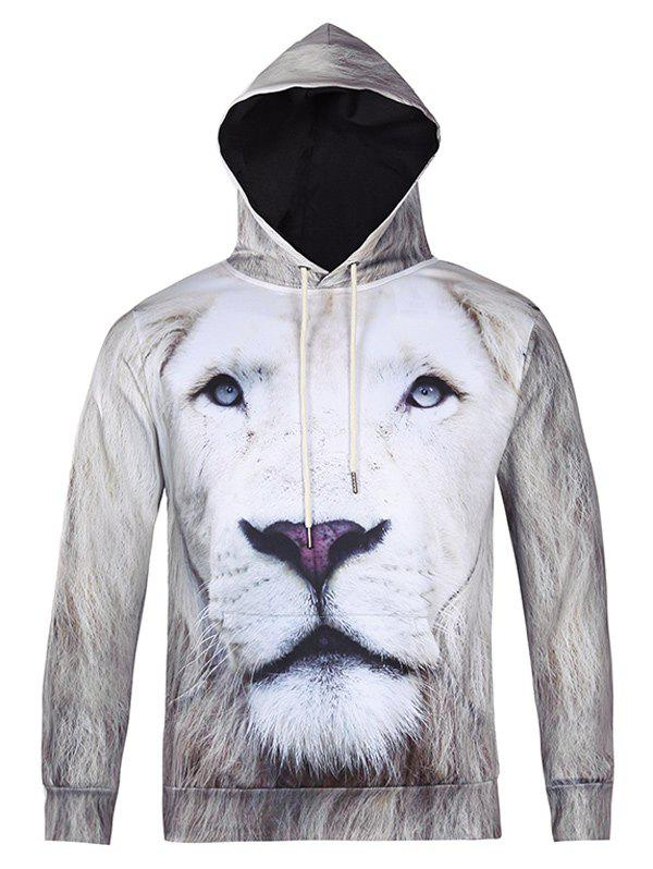 3D All Over Lion Printed Cool Hoodie - WHITE XL