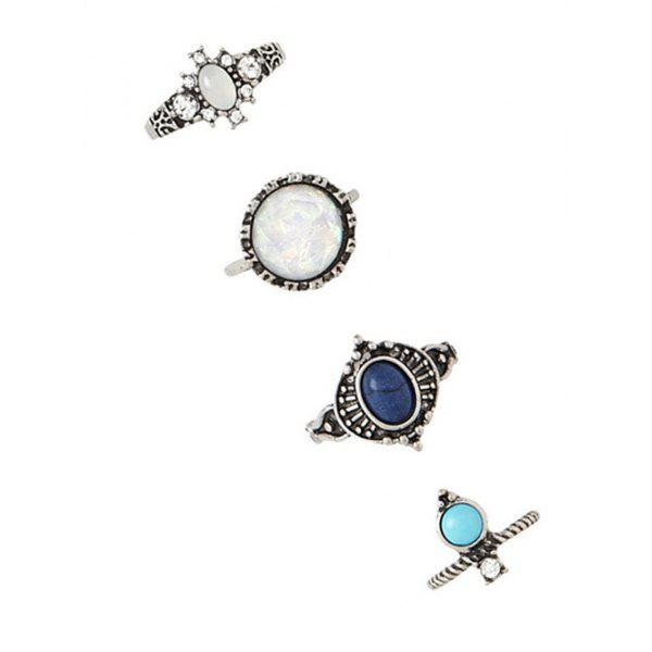 4 PCS Faux Gem Inlay Retro Geometry RingsJewelry<br><br><br>Color: SILVER