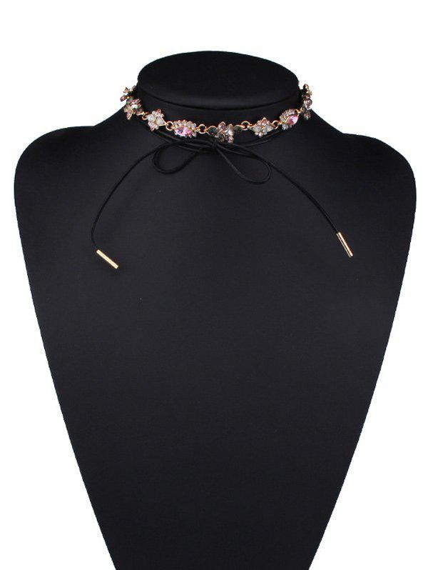 Faux Crystal Floral Bowknot Choker Necklace, Black