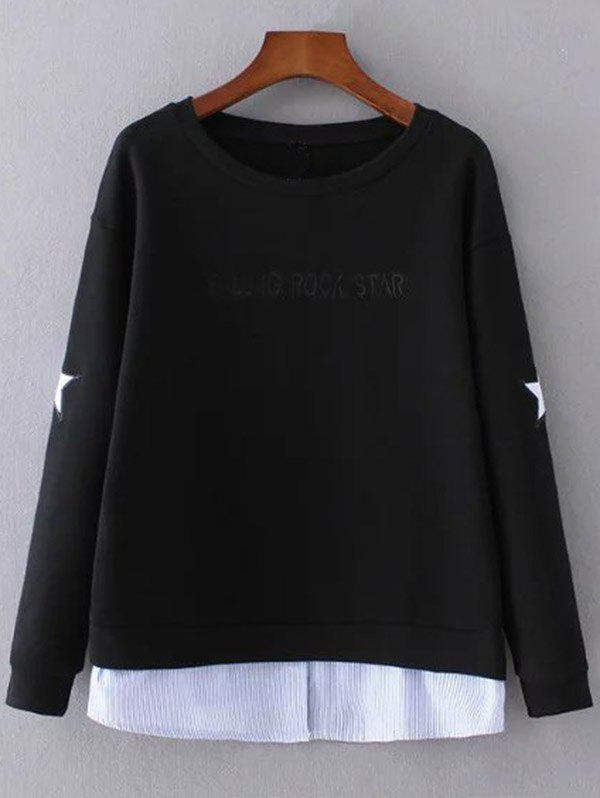 Layered Hem Star Sweatshirt - BLACK S