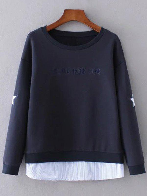 Layered Hem Star Sweatshirt - PURPLISH BLUE S