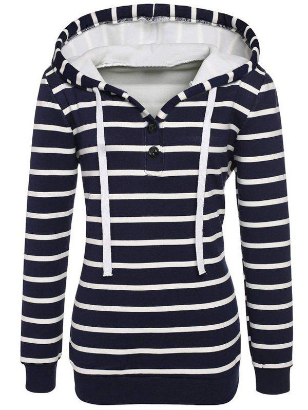Long Sleeves Striped Buttoned Hoodie - BLACK L