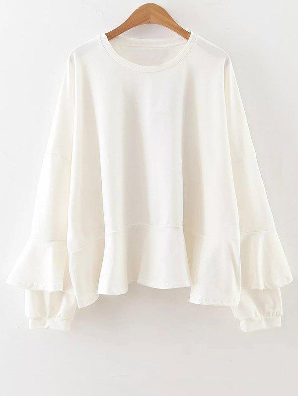Buy Long Sleeve Frilly Top WHITE