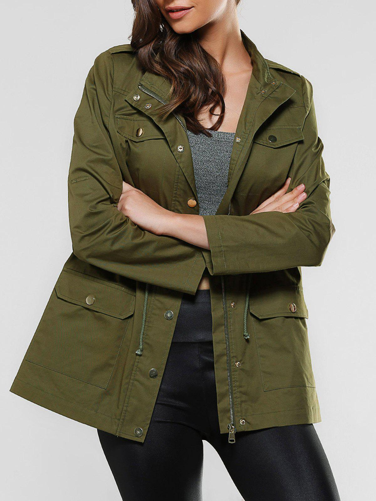 Flap Pockets Drawstring Utility JacketWomen<br><br><br>Size: M<br>Color: ARMY GREEN
