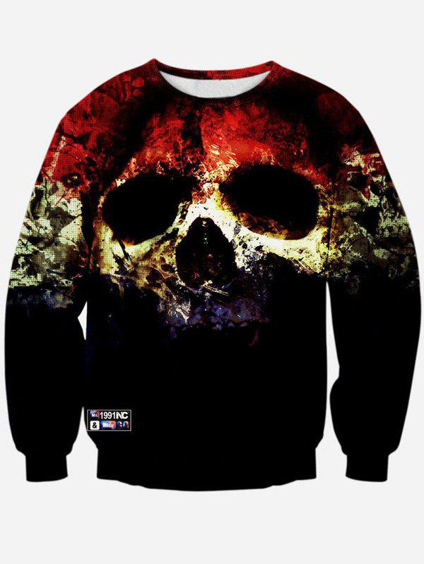 3D Horrific Skull Print Crew Neck Sweatshirt - BLACK M