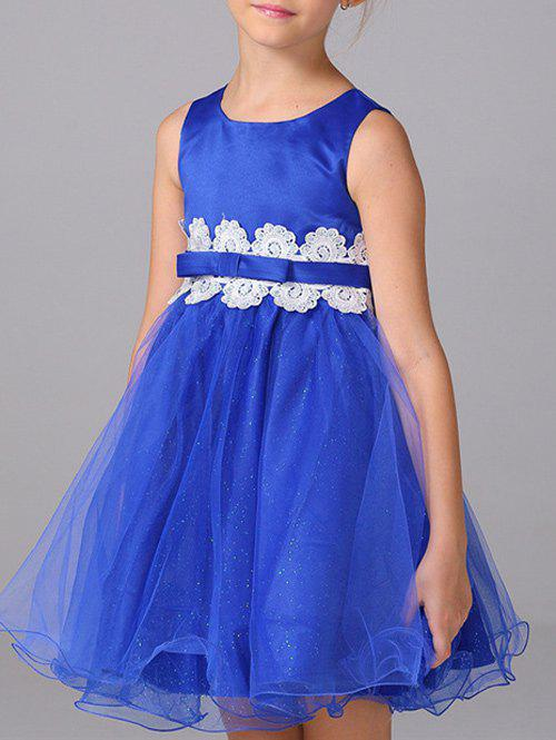 Kids Lace Embellished Ball Gown Dress - BLUE 140