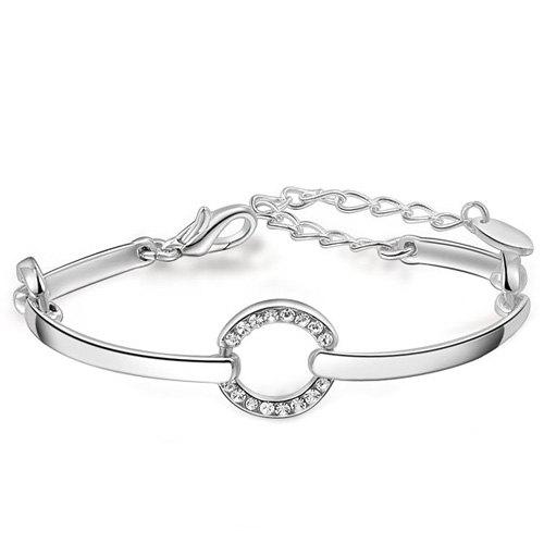 Circle Shape Adjustable Fake Diamond Bracelet - WHITE GOLDEN