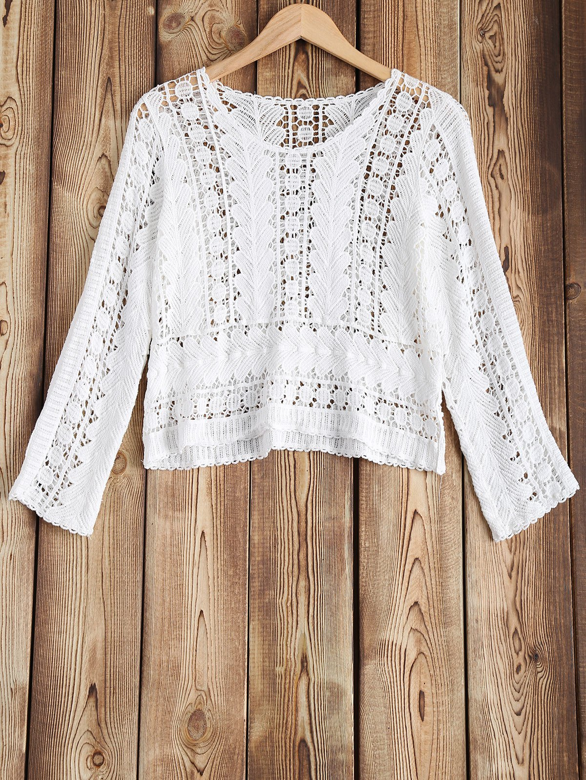 Crochet évider Cover-Up - Blanc ONE SIZE