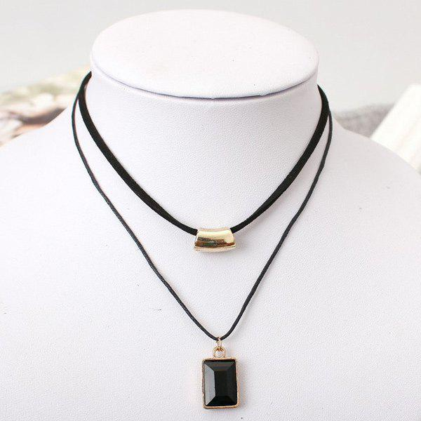 Faux Gem Double Layer Necklace - BLACK