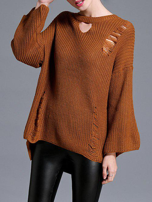 High Low Pullover Sweater, BROWN, ONE SIZE in Sweaters & Cardigans ...