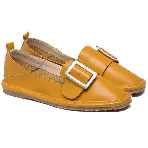 Leisure Square Toe and Buckle Design Women's Flat Shoes - YELLOW 37