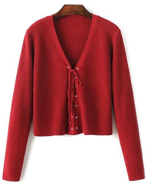 Cropped Lace Up Sweater - WINE RED ONE SIZE
