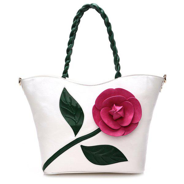 Stitching Color Splicing Rose Shoulder Bag - WHITE
