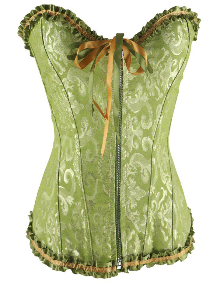 Zippered Lace-Up Waist Slimming Corset - GREEN S