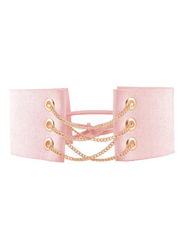 Faux Leather Velour Chains Bowknot Choker - PINK